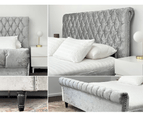 Luxury Venice Crushed Velvet Fabric King Size Bed Frame Fabric Tufted Silver Upholstered 7
