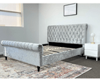Luxury Venice Crushed Velvet Fabric King Size Bed Frame Fabric Tufted Silver Upholstered 8