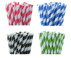 100 Pack - Green White Hoop Biodegradeable Straws - 100% Natural Organic Eco Friendly Drinking Straws - Alternative to Plastic Throw Away 1