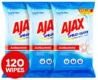 3 x Ajax Spray & Wipe Large Antibacterial Multipurpose Wipes 40pk 1