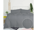 Hilton Waffle Quilt Cover Set - King Quilt Cover and Two Pillowcases - Grey 1