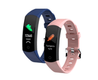Smart Watch Body Thermometer Temperature BPM Monitor Fitness Band - Black And Purple Pair Combo 1