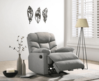 Eliving Rocking Recliner Chair Swing Glider Light Grey Fabric 2