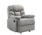 Eliving Rocking Recliner Chair Swing Glider Light Grey Fabric 3
