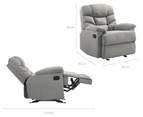 Eliving Rocking Recliner Chair Swing Glider Light Grey Fabric 8
