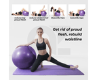 Yoga Ball with Pump for Pilates Gym Home Exercise & Rehab 85cm Purple 5