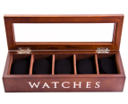 5-Compartment Watch Storage Box - Brown 1