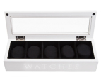 5-Compartment Wooden Watch Storage Box - White 1
