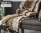 Deluxe Size 220x240cm Mink Blanket - Leopard Print 1