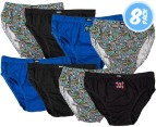 Rio Boys' Cotton Briefs 8-Pack - Skull 1