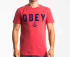 OBEY Men's Naval T-shirt - Red 1