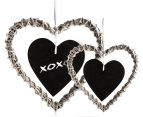 Set of 2 Heart Shaped Wicker Blackboard Ornaments 1