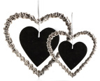 Set of 2 Heart Shaped Wicker Blackboard Ornaments 3