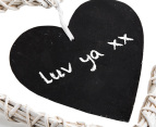 Set of 2 Heart Shaped Wicker Blackboard Ornaments 2