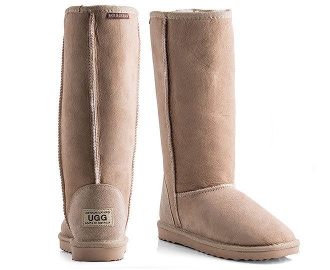 e8b0a83a378 Australian Leather Long Classic Ugg Boots - Natural