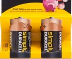 2 x Duracell Simply C 1.5V Alkaline Battery 2pk 2