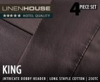 Linen House King 250TC Sheet Set - Chocolate 1