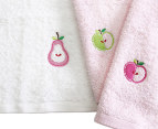 Minikins Embroidered Face Washer Apple 3-Pack - Pink/White 2
