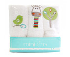 Minikins Embroidered Jungle Face Washer 3-Pack - White 3