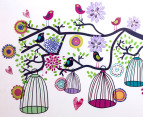 Retro Birdcage Tree Wall Decal/Sticker 2