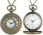 Vintage-Style Grandfather Clock Pocket Watch Necklace - Gold 4