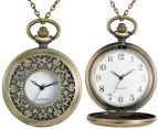 Vintage-Style Foliage Pocket Watch Necklace - Gold 4