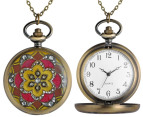 Vintage-Style Prismatic Pocket Watch Necklace - Gold/Red 4