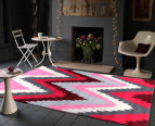 Rectangular Ikat Chevron Rug 225 x 155cm - Berry 4