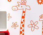 Three Orange Giraffes & Flowers Decal/Sticker 2