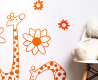 Three Orange Giraffes & Flowers Decal/Sticker 3