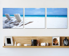 3-Part Landscape Canvas 57 x 57cm - Sunbeds on Beach 1