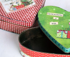 2Pc Nested Heart-Shaped Christmas Metal Tins - Red/Green 7