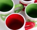 6 x 10cm Christmas Owl Mugs - Green/Red 8