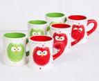 6 x 10cm Christmas Owl Mugs - Green/Red 7