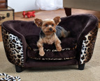 Enchanted Home Plush Pet Snuggle Bed For Small Dogs - Leopard 2