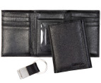 Calvin Klein Leather Trifold Wallet & Key Fob Set - Black 1