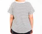 Bonds Women's Plus Size Scoop Raglan Tee - Grey Marle/Black 3