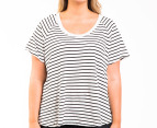 Bonds Women's Plus Size Scoop Raglan Tee - Grey Marle/Black 1