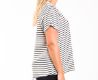 Bonds Women's Plus Size Scoop Raglan Tee - Grey Marle/Black 2