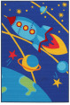 Spaceship 150x100cm Kids' Rug - Blue 2