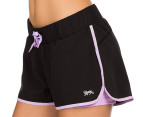 Lonsdale Women's Thornburgh Shorts - Black/Lilac 1