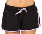 Lonsdale Women's Thornburgh Shorts - Black/Lilac 2
