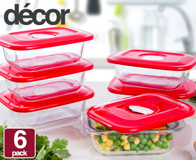 6x Decor Glass Realsealable Container 250mL Catchcomau