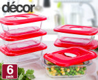 6x Decor Glass Realsealable Container 250mL 1