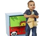 Kids 2-Drawer Safari Bedside Table - Green/Red 3