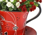 Ceramic Tea Cup Shaped Plant Holder - Red 2