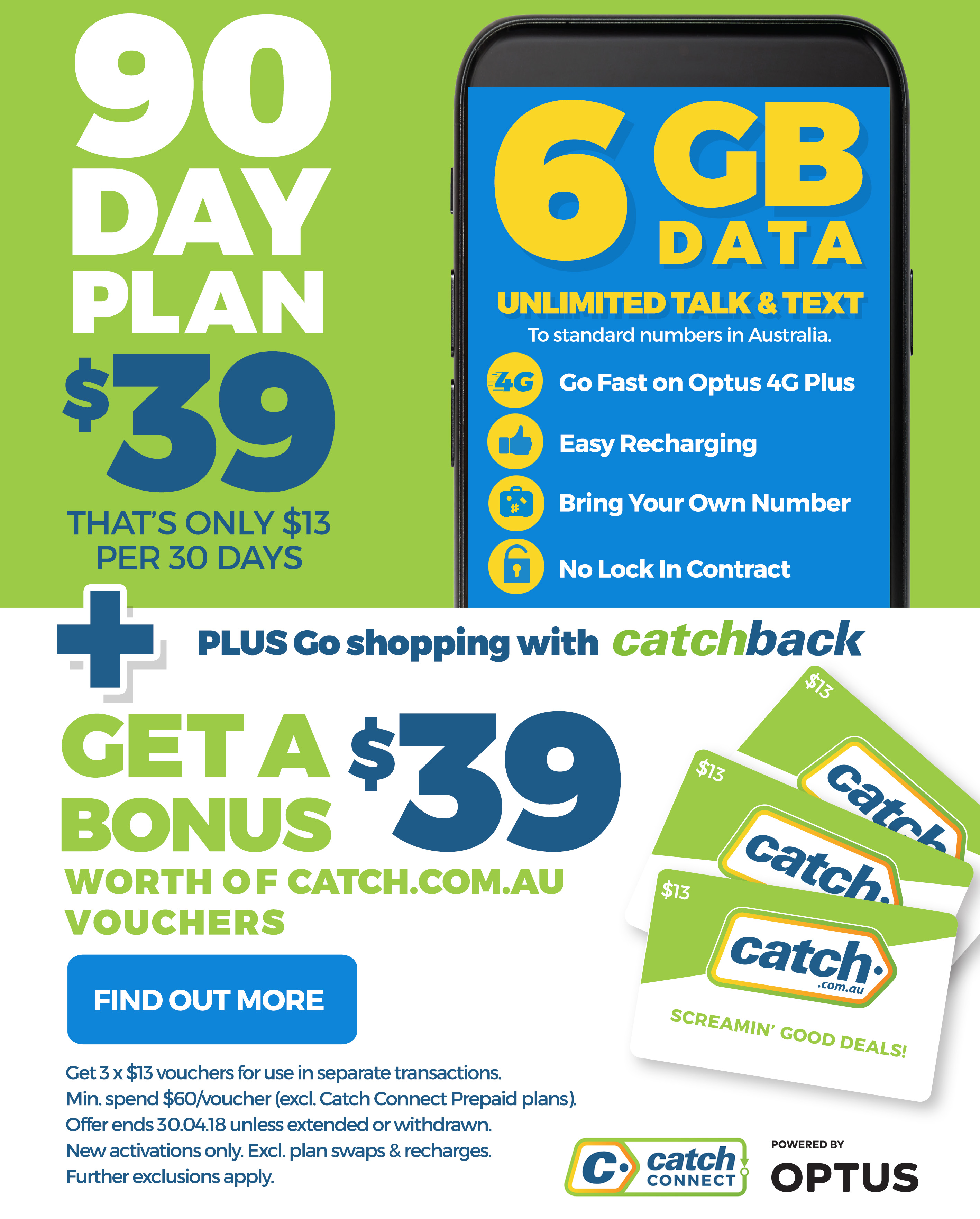 90 Day Plan $39 + get a bonus $39 worth of catch.com.au vouchers