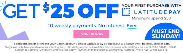 LatitudePay Promotion Banner | Get $25 off with first purchase over $50